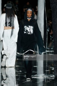 A model walks the runway at the FENTY PUMA by Rihanna AW16 Collection during Fall 2016 New York Fashion Week at 23 Wall Street on February 12, 2016 in New York City.