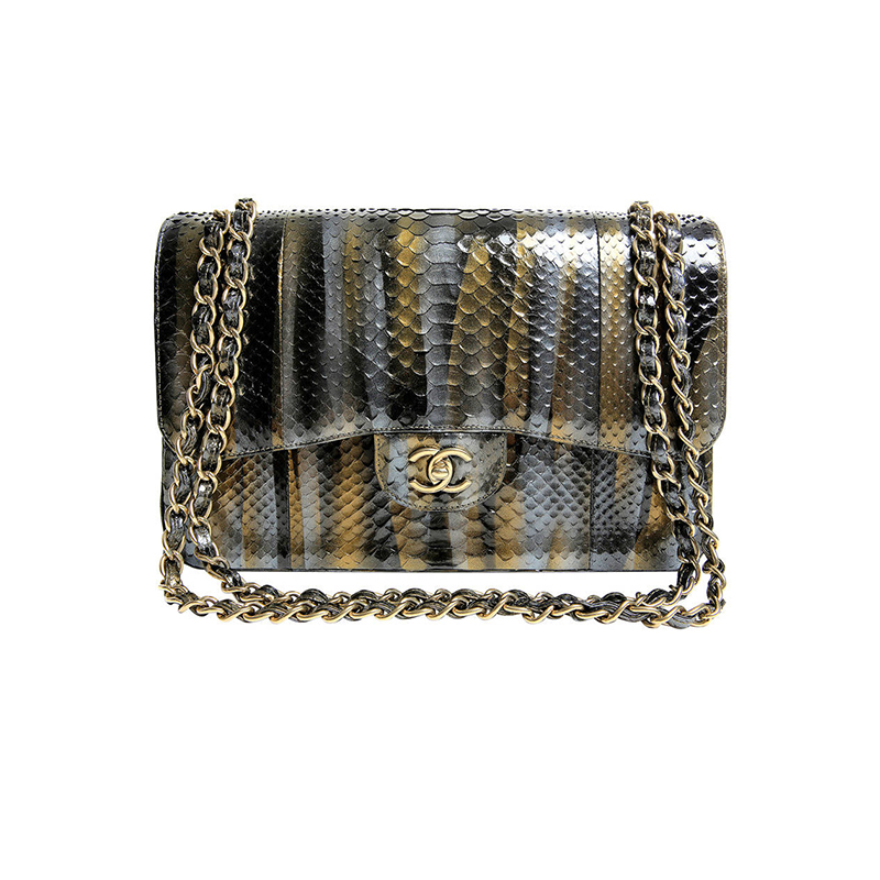 chanel-metallic-snake-embossed-jumbo-flap-chanel-bags